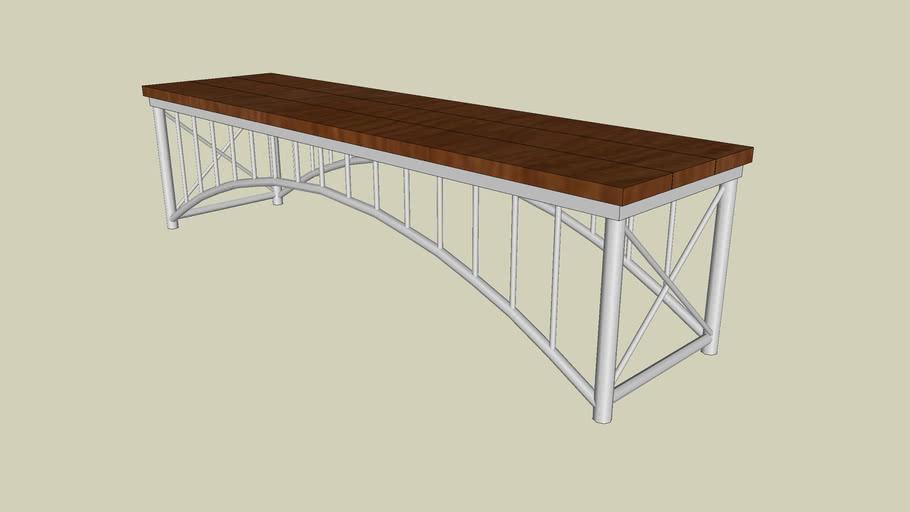 Forms+Surfaces® Bridge™ Bench, straight, FSC 100% Ipé hardwood slat seat