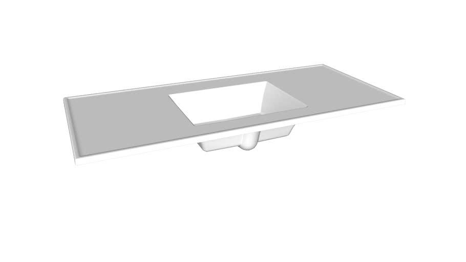 "K-2783-8 Ceramic/Impressions(R) 49"" rectangular vanity-top bathroom sink with 8"" centerset faucet holes"