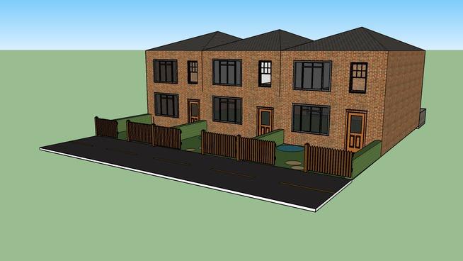 3 terraced houses