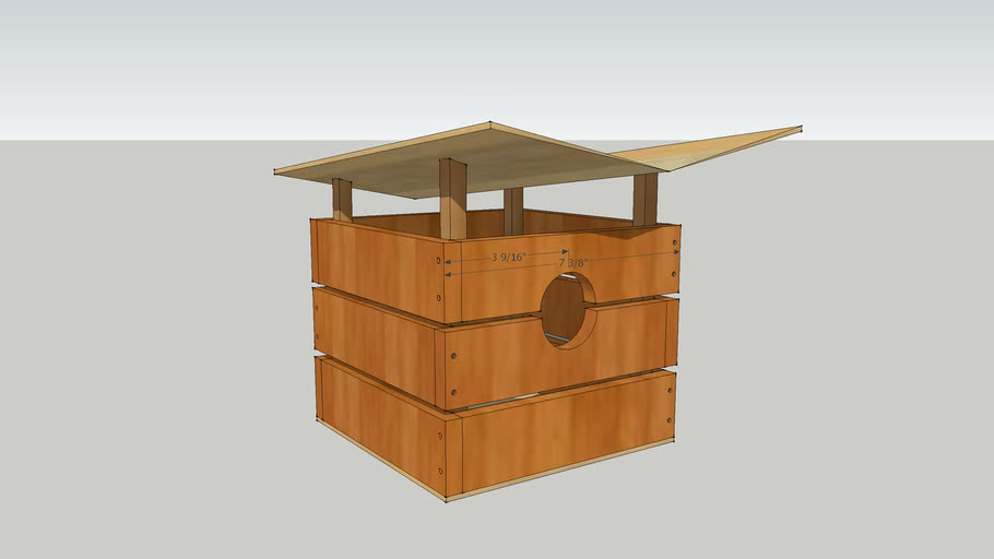 Bird House with beveled roof