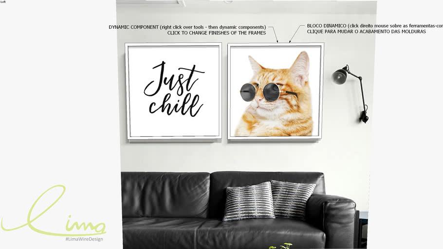 Conjunto com 2 quadros decorativos Just Chill cat - Paola Cury