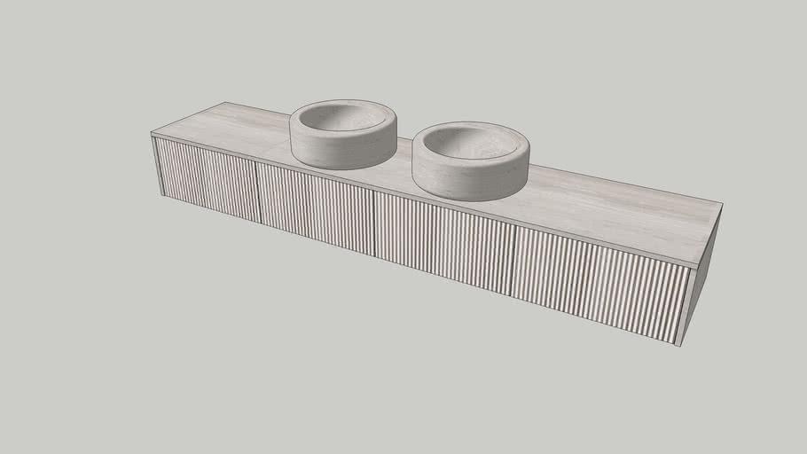 Balnea | Wall-mounted modular system in Silk Georgette limestone | L60cm modules | Salvatori