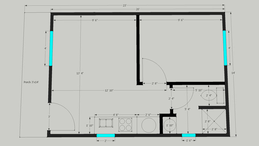 1 Bedroom Cabin Floor Plan 3d Warehouse