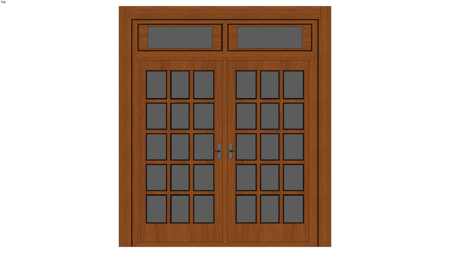 French Glass Door with Glass Lintels - Detailed