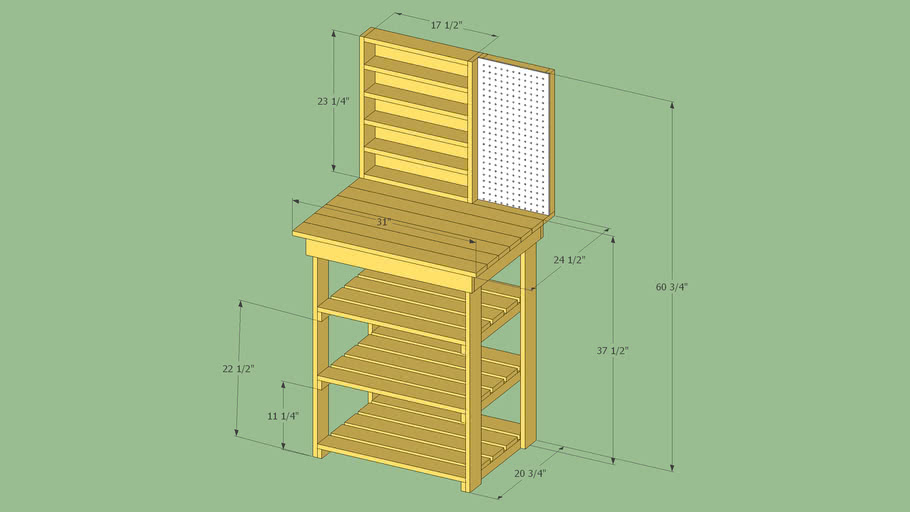 Small workbench with shelves