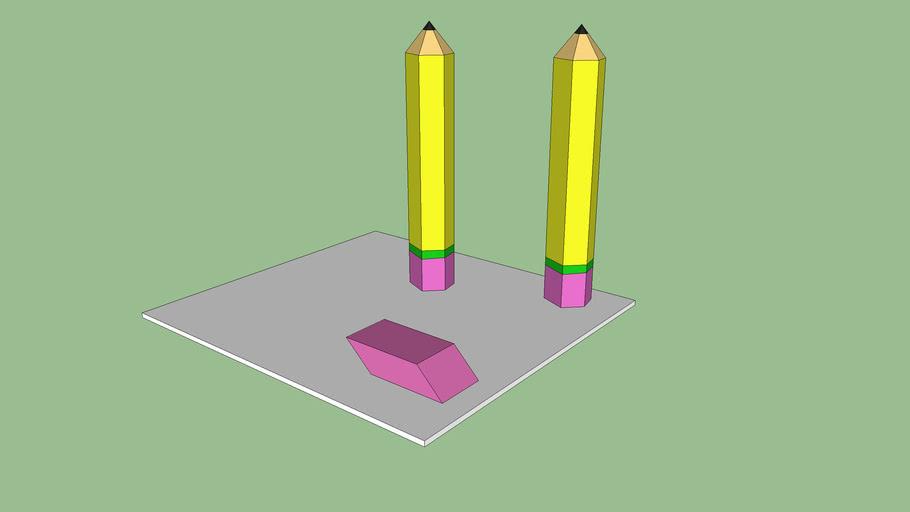Pencils and Eraser School Stuff