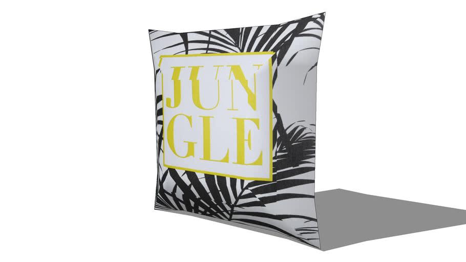 Coussin en coton blanc imprimé jaune et noir 45x45cm JUNGLE REF 168336 PRIX 19.90€