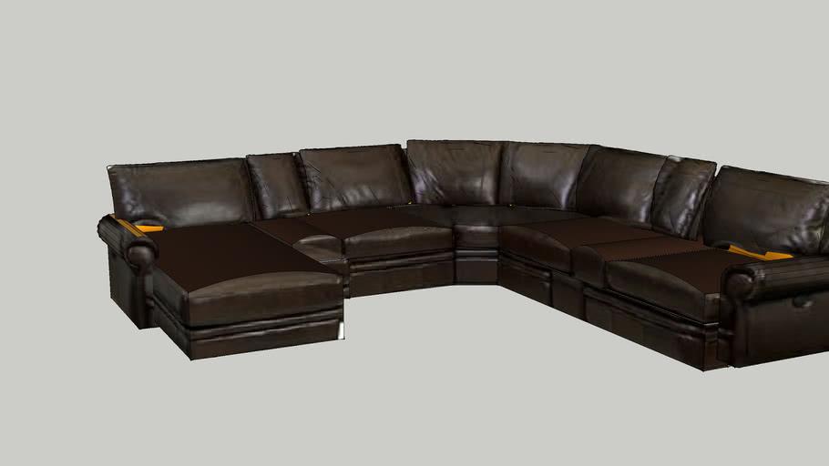 Bentley Leather Sectional Warehouse