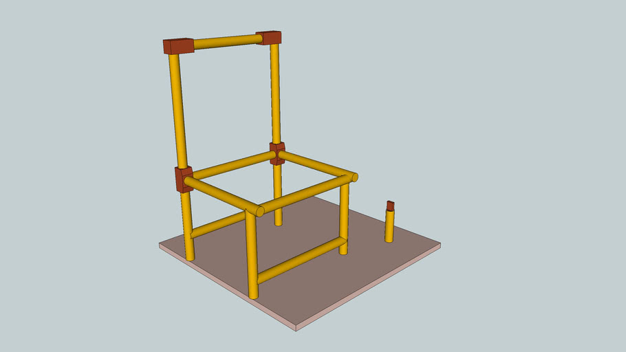 Bamboo chair, with traditional wood joinery