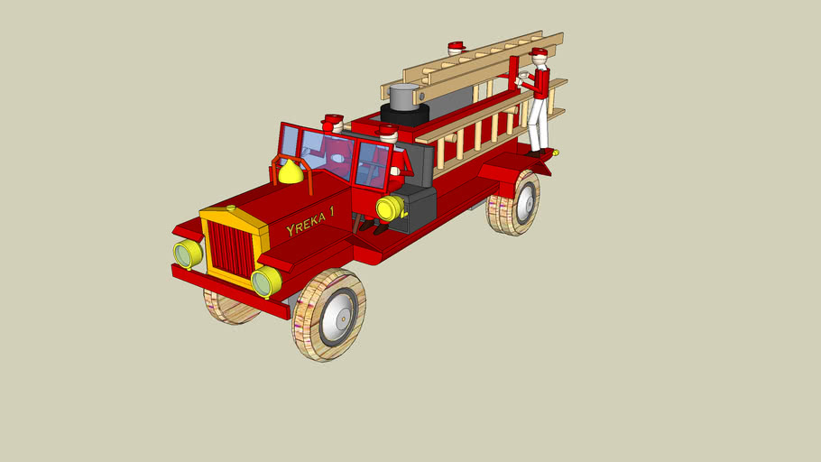 Wooden Toy Fire Truck and Firemen