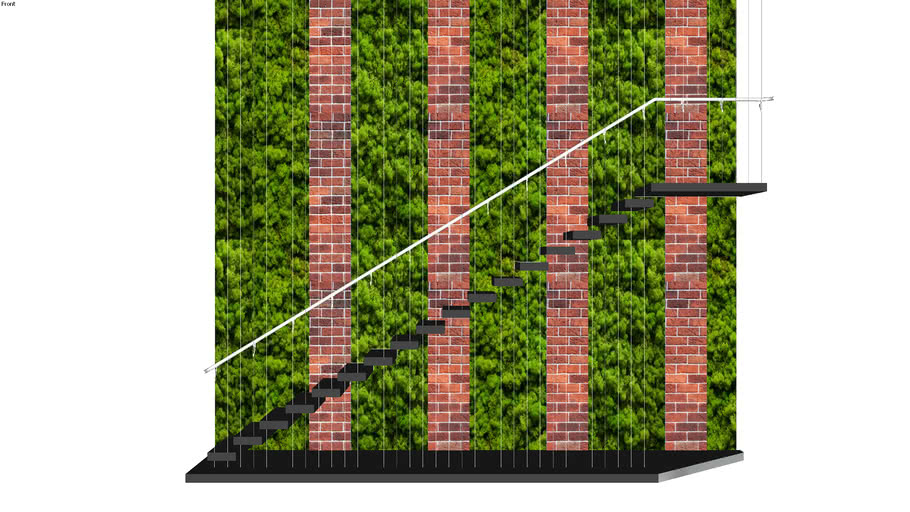 Cantilever Tread with cables+staircase+modern+garden+landscape+brick+plant