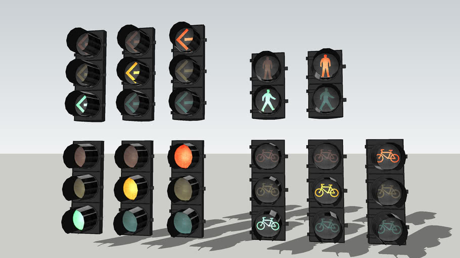 8 inch Duralight LED traffic signals.