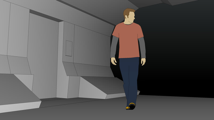 Spaceship Corridor (with door)