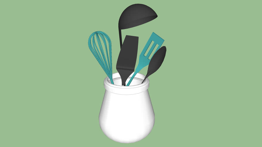 Utensils with color in holder