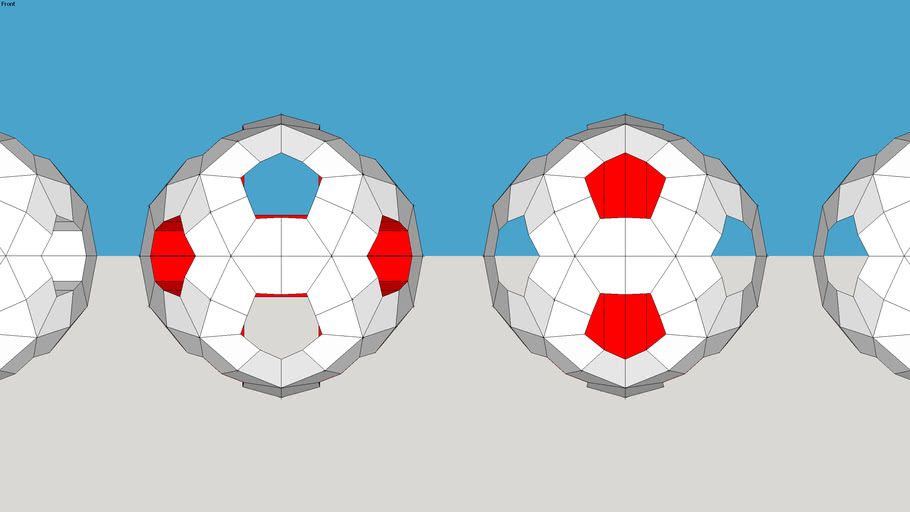 Sphere cut-outs build up by componets.