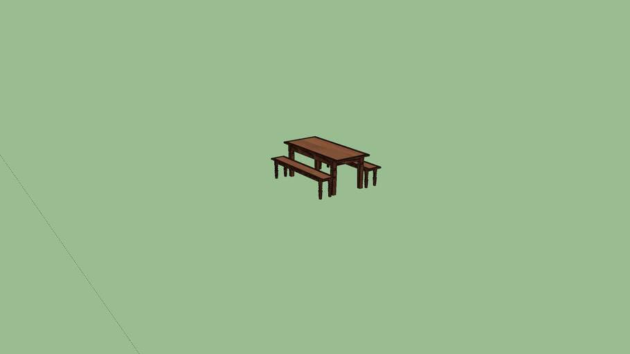 mesa rustica com banco