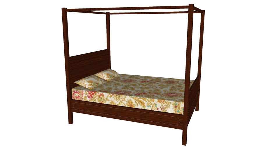 Queen Size Bed with Canopy - Detailed