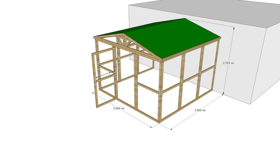 Enclos 306 x 306 adossé avec toit double pente