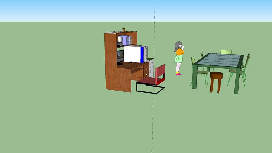 mueble computador y comedor