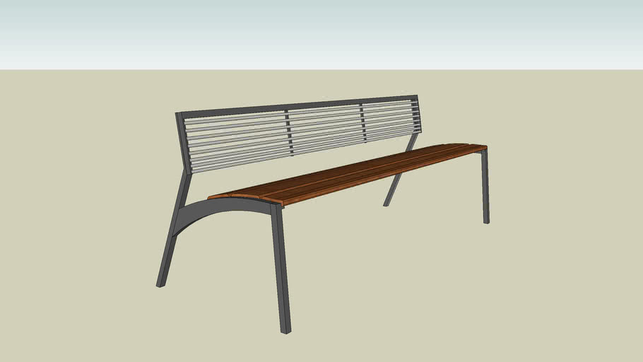 LV171 6' Vera Bench with steel backrest by mmcite'
