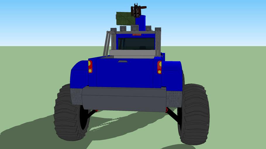 big blue turret truck
