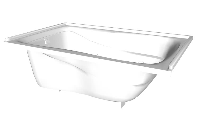 """K-1239-L Mariposa(R) 60"""" x 36"""" alcove whirlpool with integral flange and left-hand drain"""