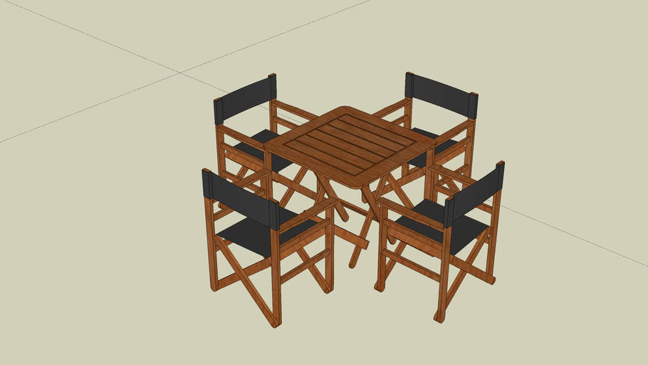 exterior chairs and table wood and fabric