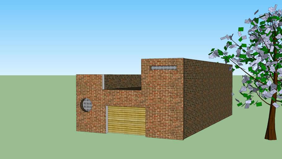 modelo casa de dos pisos con arbol