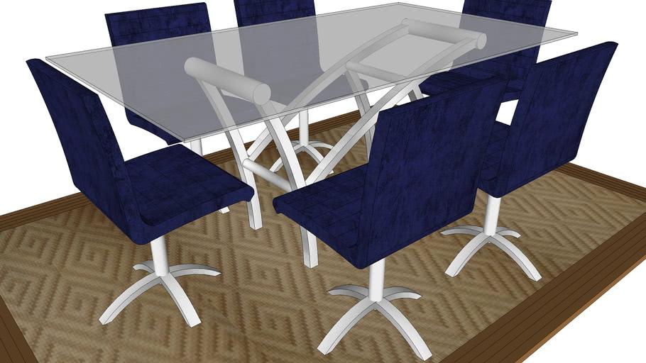 Mesa Jantar Coluna Natana cadeiras Angel