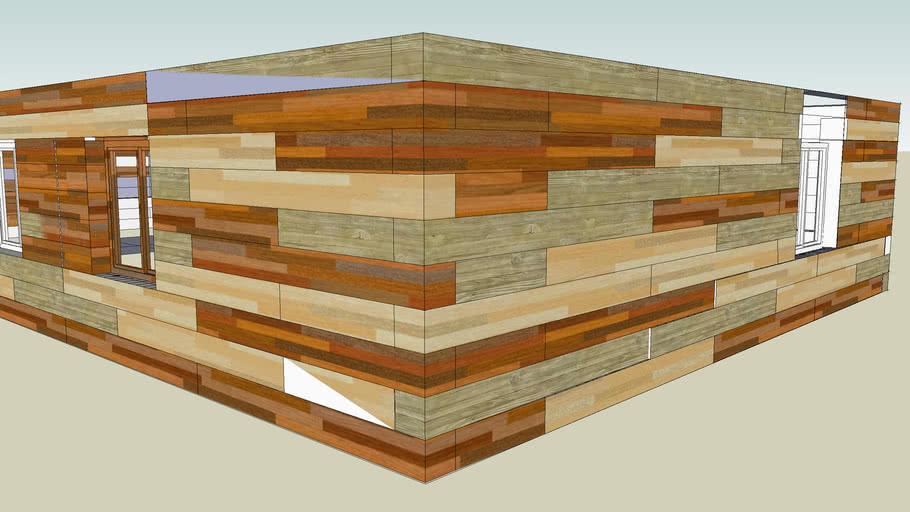 Дом с трех цветной комбинацией дерева  EcoBlock25™ 3D-Google