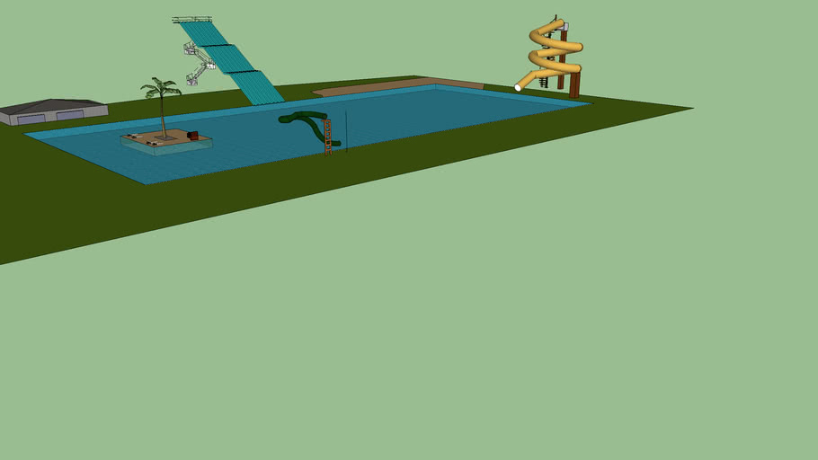 piscine avec tobogan et petite ile