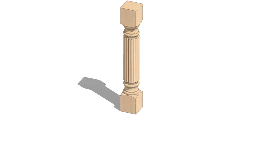 """01420220-1 Large Diameter Traditional Reeded Column ( 5"""" x 5"""" x 34.5"""" )"""