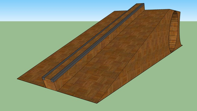 small ramp with full pipe and rail