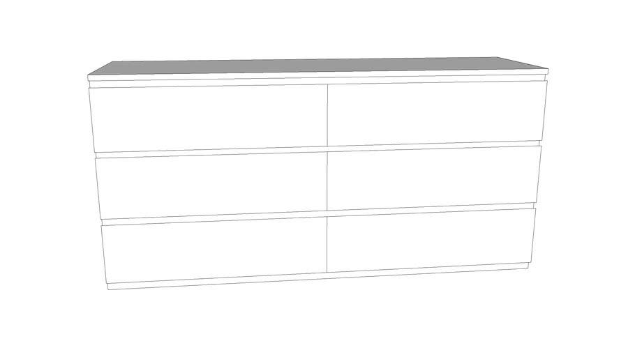 Cassettiera Malm 6 Cassetti Bianca.Ikea Malm Cassettiera Nera Con 6 Cassetti 3d Warehouse