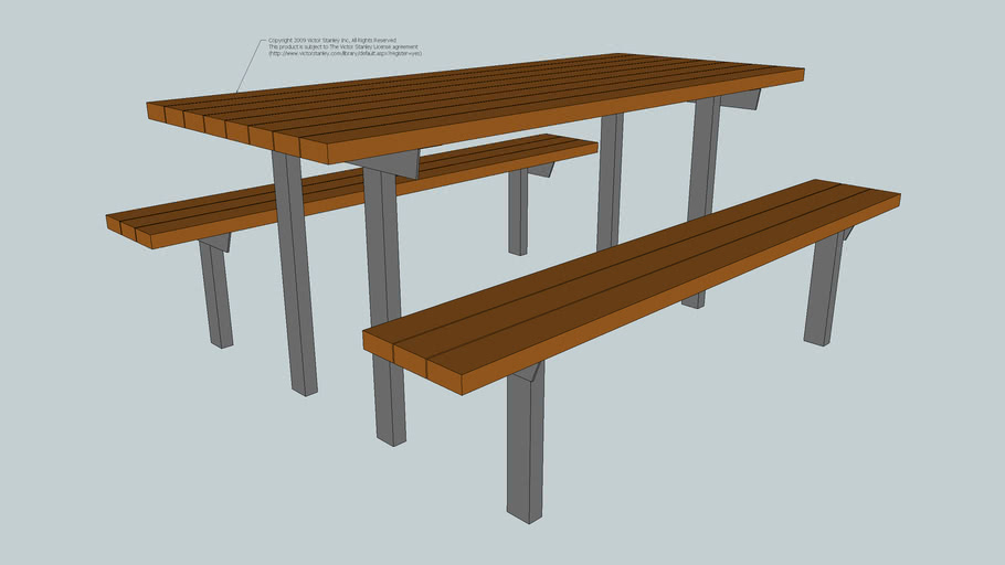 ST-6 Homestead Picnic Table with Recycled Plastic Slats (In-ground Mount)