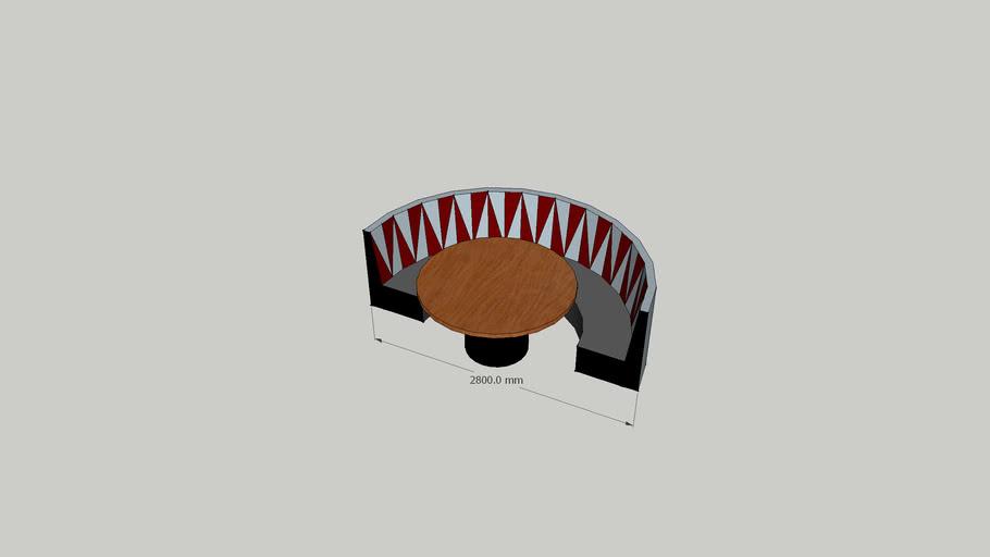 semi circular dinning booth