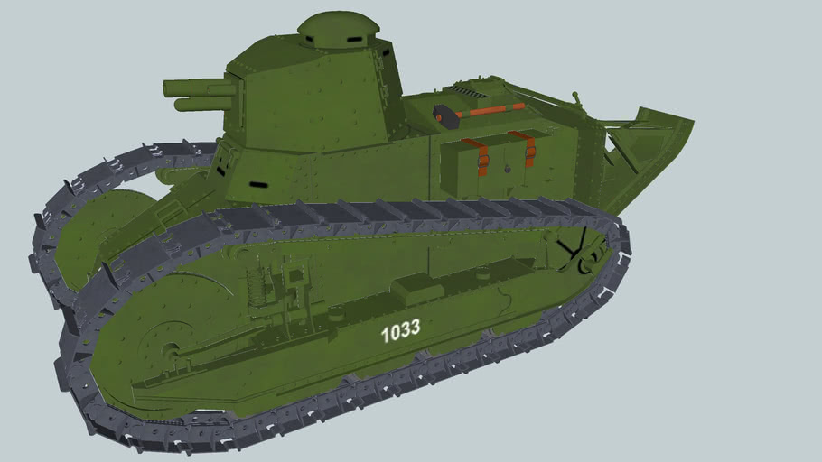 Renault FT17 light tank ,polygonal turret with cannon,in Polish service