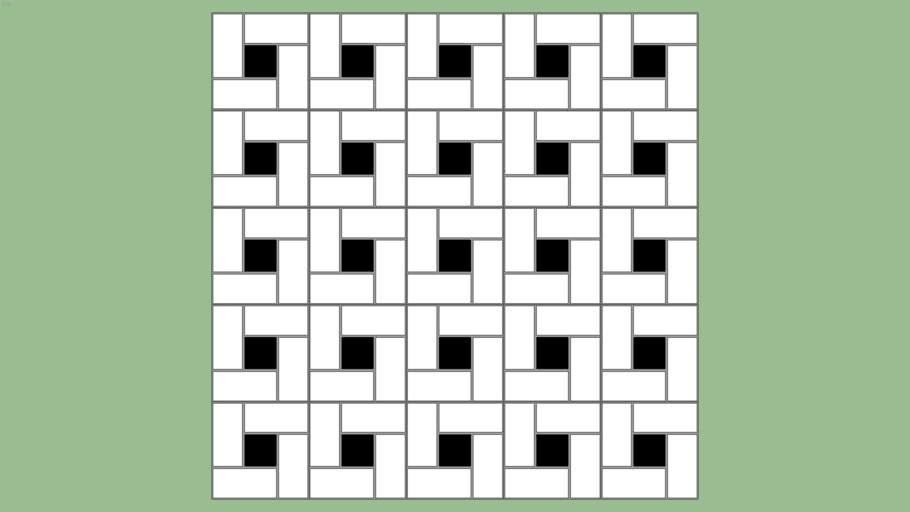 Spiral mosaic bathroom floor tile pattern
