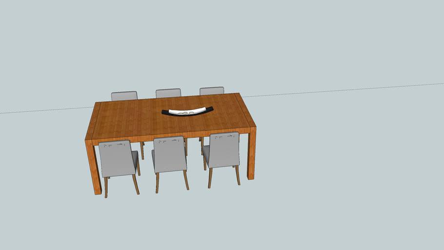 6 Design Stoelen.Tafel Ilunda 6 Stoelen 3d Warehouse