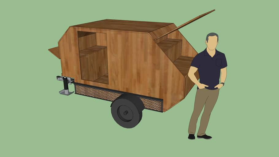 Simple tear drop type camper on 4 x 6 trailer