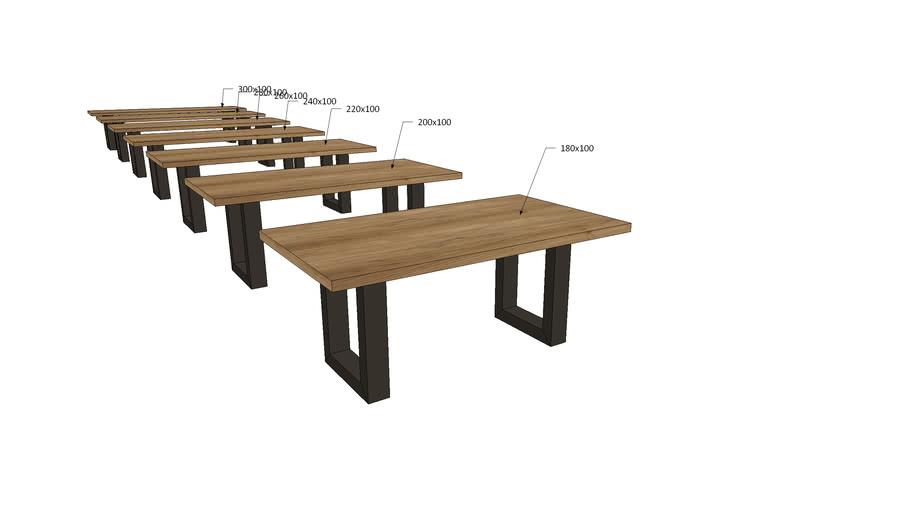 VI1Ux, Vivaldi Dining Table U Metal Legs