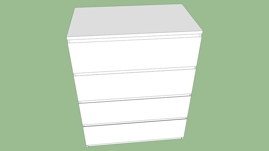 Cassettiere Malm Di Ikea.Ikea Malm Cassettiera 3d Warehouse