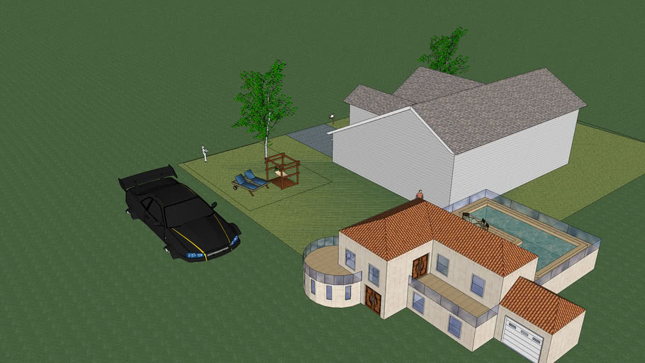 Main house and guest house with car and pool