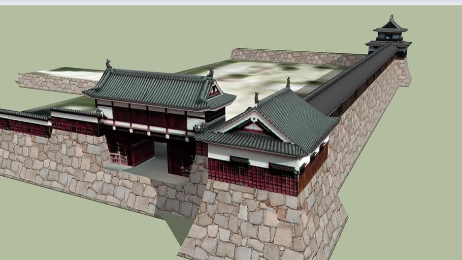 広島城 復元表御門と太鼓櫓