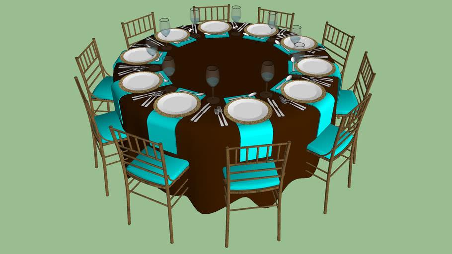 mesa 10 pessoas festa completa