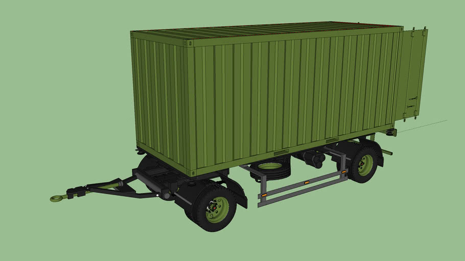 truck trailer with ISO container high cube