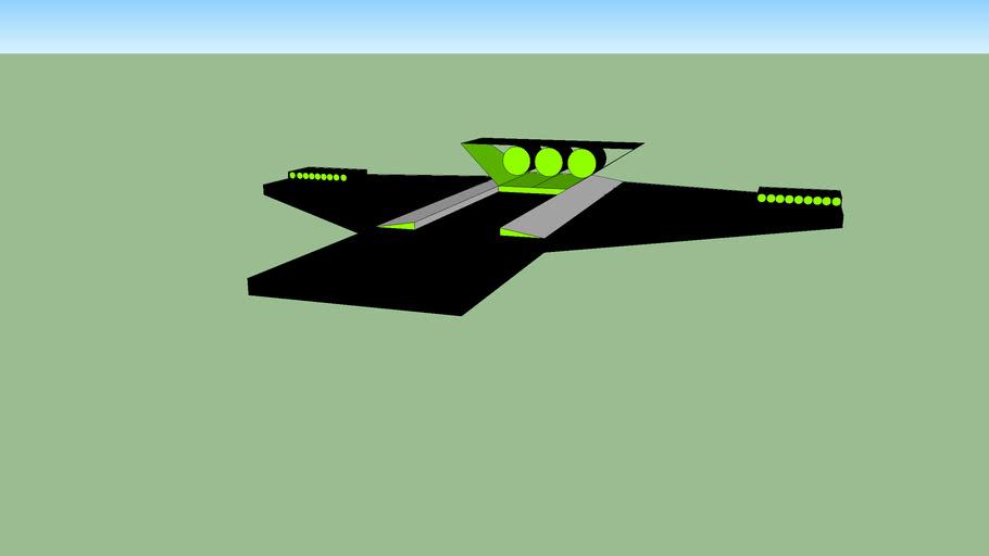 Awesome star wars- type interceptor: black+ green