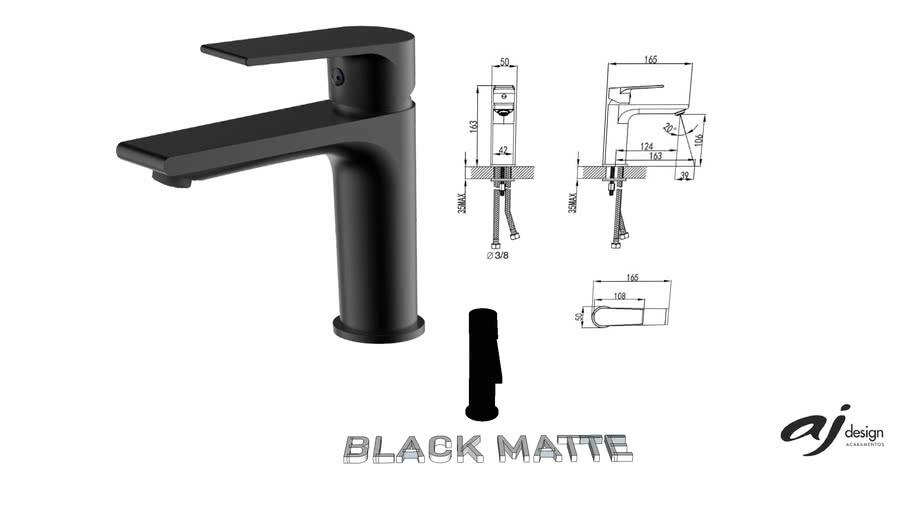MISTURADOR BICA BAIXA AJ DESIGN BLACK MATTE