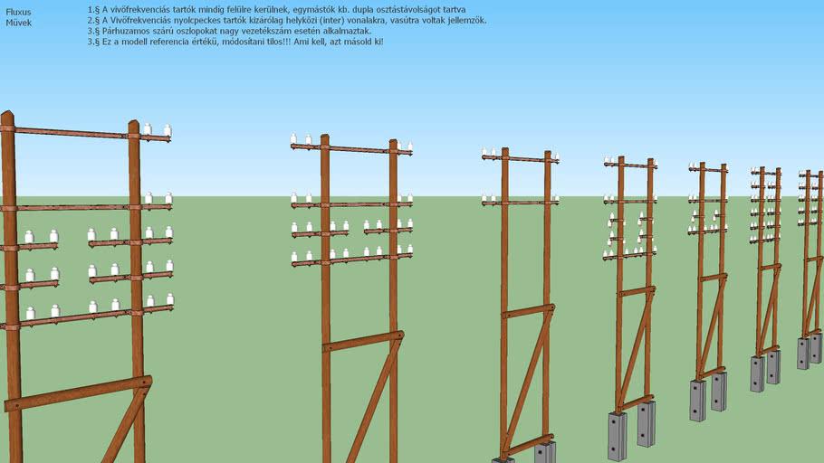 Hungarian Telecommunication Poles - Double CF poles
