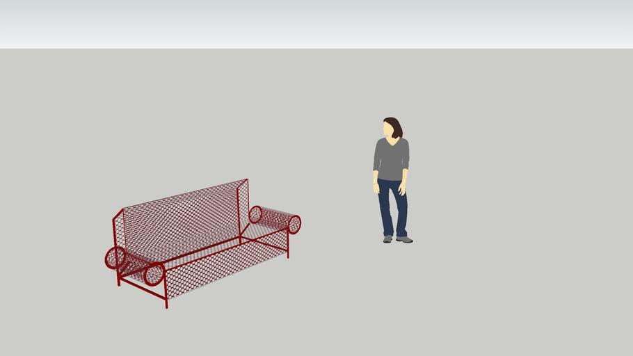 red modern bench